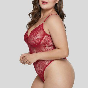 Red Sweet Floral Plus Size Teddy Lingerie